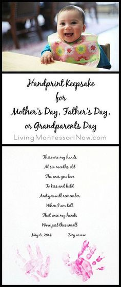 Handprint Keepsake Craft for Mother's Day, Father's Day, or Grandparents Day - with free printable handprint poem and tips for getting a good baby handprint