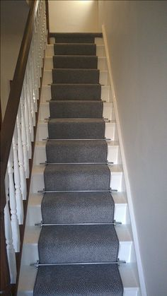 Grey stair runner carpet stairs, house stairs, room under stairs, hallway inspiration, Stair Paneling, Flooring For Stairs, Oak Stairs, Wood Staircase, House Stairs, Carpet Stairs, Staircase Ideas, Staircases, Grey Hallway