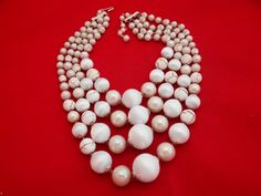 Vintage chunky 16 creme beaded 4 strand necklace  in by jeanmc, $20.00