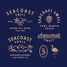 Graphics that i did for Seacoast Swell. I really enjoyed this project so much! especially for Matt, much love for you 🙌 Color palette… Logo Branding, Branding Design, Branding Ideas, Logo Inspiration, Badges, Typographie Logo, Badge Logo, Badge Design, Thing 1