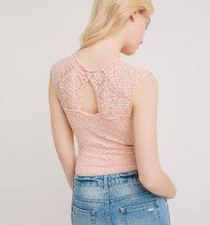Női csipke body halvány rózsaszín - Promod