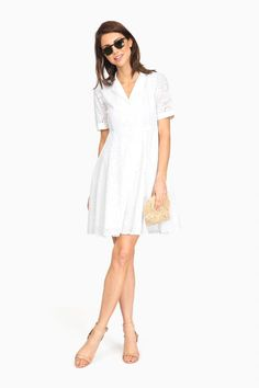 White Eyelet June Shirt Dress