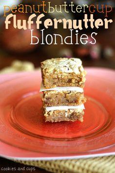 peanut butter cup fluffernutter blondies