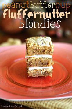 PB Cup Fluffer Nutter Blondies #cookiesandcups #blondies #recipe