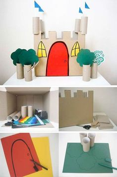 Make a castle from toilet paper rolls and cardboard Kids Crafts, Craft Activities For Kids, Projects For Kids, Diy For Kids, Diy Projects, Cardboard Castle, Cardboard Crafts, Paper Roll Crafts, Ideias Diy