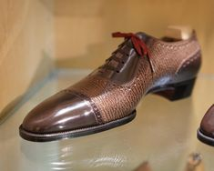Next up in the Tokyo shoe showcase is Trained in Japan and with a distinct Japanese style of the shoes. Here's a new bespoke sample in calf and shark skin. Best Shoes For Men, Formal Shoes For Men, Fashion Shoes For Men, Shoes Men, Ascot Shoes, Gents Shoes, Gentleman Shoes, Cap Toe Shoes, Leather Dress Shoes
