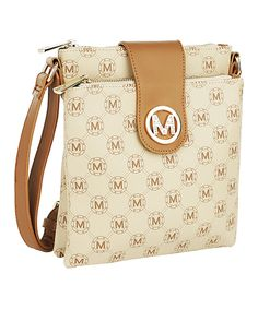 Look what I found on #zulily! MKF Collection | Beige Logo Crossbody Bag by MKF Collection #zulilyfinds