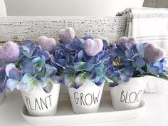 "77 Likes, 10 Comments - HARRIS H♥ME DECOR (@harrishomedecor) on Instagram: ""Plant Grow Bloom... #valentinesday #hygrangea #flowers #hearts #purple #raedunn…"""
