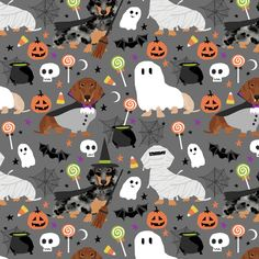 dachshund halloween fabric dog dogs fabric doxie halloween spooky ghost fabric - charcoal by petfriendly