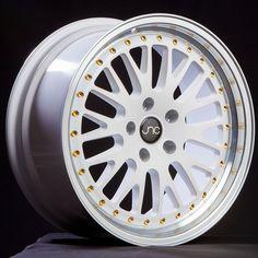 JNC001 White Machined Lip Gold Rivets