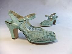 Vintage 1940s Heels //  The Blue Birdie Leather and by FabGabs, $50.00