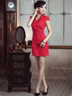 Red V-neck Short Silk Qipao   Cheongsam   Chinese Wedding Dress by AnneF 1232418e8d8b