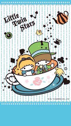 ★Sanrio Little Twin Stars★ My Melody Sanrio, Hello Kitty My Melody, Sanrio Wallpaper, Hello Kitty Wallpaper, Little Twin Stars, Little Star, Badtz Maru, Keroppi, Kawaii Illustration