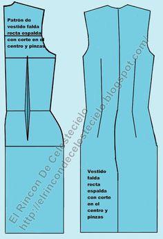 Patrón espalda con corte en el centro de vestido falda recta