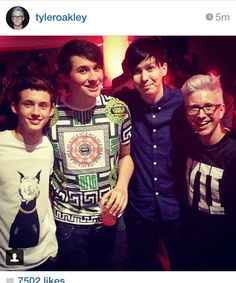 Tyler Oakley and Troye with Dan and Phil<= REPINNING AGAIN BC TROYE IS SO FRICKEN SHORT