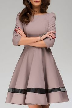Voile Spliced 3/4 Sleeve Flare Dress