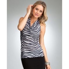 Zebra Mesh Cowl Halter | bebe