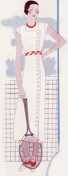 This is a digital draft-at-home pattern for a lovely sports dress from 1933. The dress features a square neckline and a button opening the length of the