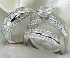 His Her Matching 3pcs Engagement Wedding Ring Set Unique Rings