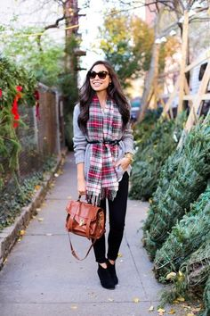 Belted Scarf - Chic Ways to Wear Plaid This Winter - Photos