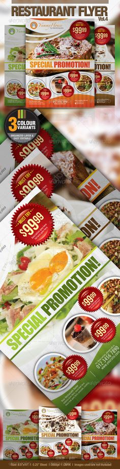 Restaurant Flyer Vol.4  #GraphicRiver         This flyer template perfectly fit into any kind of food and beverage business, cafe, restaurant, fast food businesses, supermarket or retail shop as well.