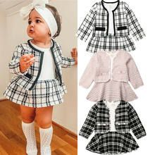 New Fashion Plaid Baby Girls Long Sleeve Plaid Coat Tops+Dress Outfit Years Tweed Outfit, Sweater Dress Outfit, Plaid Dress, Coat Dress, Dress Set, Skirt Set, Plaid Outfits, Girl Outfits, Formal Outfits