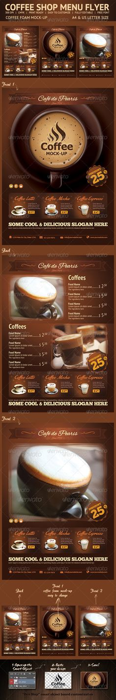 Coffee Menu + Business Card Coffee menu, Psd templates and - coffee shop brochure template