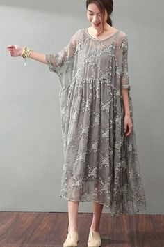 Lace Plus Size Women Dresses Maxi Clothes in Gray Q9881 #Womendresses