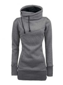 Loose-Fitting Solid Color Casual Style Long Sleeve Women's Hoodie ...
