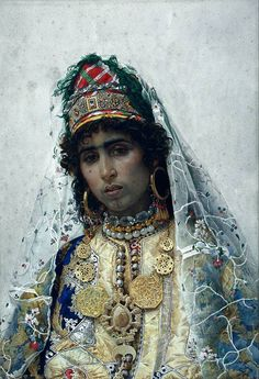 https://www.facebook.com/photo.php?fbid=10205339645394841   Josep Tapiró Baró (1836 - 1913). Here's a Berber bride, painted in 1896. The original is in Museu Nacional d'Art de Catalunya - MNAC, Barcelona. I don't know how long such a portrait would take, but the reserves of patience of both the artist and the model boggles the mind.