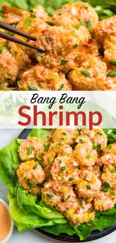 Bang Bang Shrimp, the popular Bonefish appetizer, is easy and healthy to make at home! Crispy baked shrimp coated in a creamy, spicy sauce.#appetizer #gameday #maindish @wellplated