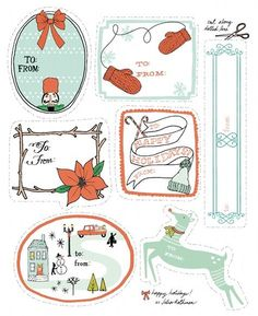 merry christmas: downloadable holiday tags