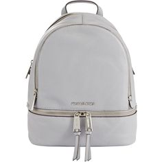 MICHAEL Michael Kors Rhea Leather Backpack , Dove ($355) ❤ liked on Polyvore featuring bags, backpacks, accessories, сумки, malas, dove, leather sports bag, leather backpack, rucksack bags and sport bag