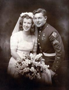 WWII Era Wedding Day 1943 - in uniform