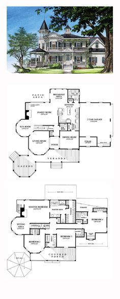 Victorian House Plan 86291 Total Living Area 3131 sq ft 4 bedrooms and 35 bathrooms Sims House Plans, Dream House Plans, House Floor Plans, My Dream Home, Dream Homes, Mansion Floor Plans, Castle House Plans, Victorian House Plans, Victorian Homes