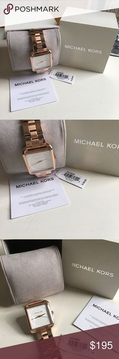 Michael Kors Watch New with tags Michael Kors Rose Gold watch for women. This is simple yet gorgeous watch and shines when you have on it's so pretty without all kinds of bling! It's not a small face would say medium to large. Has all the plastic on to protect and comes with as pictured Watch,box and care /warranty  card with tags. Price is firm!!Thanks for checking out my closet and have a blessed day! MICHAEL Michael Kors Accessories Watches