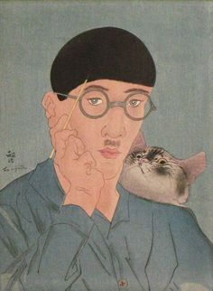 Tsuguharu Foujita, photobombed (paintingbombed?) by his cat