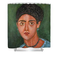 Portrait Shower Curtain featuring the painting Princess Portrait by Grigorios Moraitis