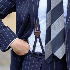 men s suits direct Suit Fashion, Retro Fashion, Mens Fashion, Suspenders Fashion, Sharp Dressed Man, Well Dressed, Suits Direct, Pinstripe Suit, Elegant Man