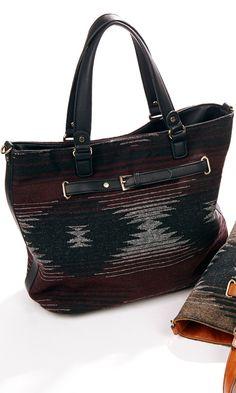 Woven tribal print bag