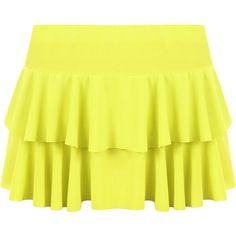 Presley Frill Mini Skirt ($14) ❤ liked on Polyvore featuring skirts, mini skirts, fluorescent yellow, frilled skirt, short frilly skirt, frill skirt, neon yellow mini skirt and flounce skirt