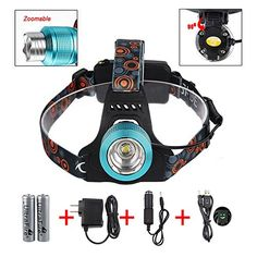 2000 Lumens Headlight Headlamp , CREE XML T6 Beam LED Head Lamp Light Torch , Zoomable Spotlight Floodlight , Rechargeable Waterproof Flashlight , for Night Fishing Hunting Camping Hiking Cycling Riding Running , Blue GRDE™ http://www.amazon.com/dp/B00R5NMFF8/ref=cm_sw_r_pi_dp_V7f8ub0M0HYV5