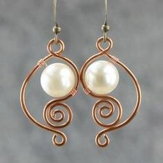 """Pretty spiral design wire earrings with """"pearls"""""""