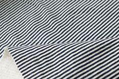 Japanese Fabric reversible double knit - stripes - navy blue, cream - 50cm