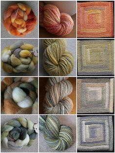 Handspun becomes spun yarn becomes log cabin blanket. Glorious!