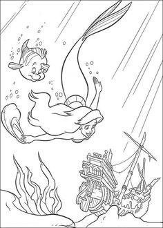 Den lilla sjöjungfrun Målarbilder för barn. Teckningar online till skriv ut. Nº 2