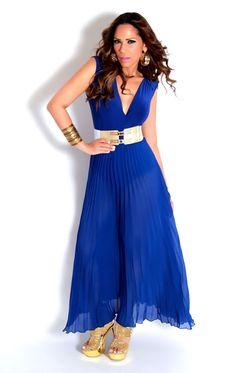 Sexy Sleeveless V-Neck Pleated Sheer Skirt Over Goddess Bodysuit In Royal Blue