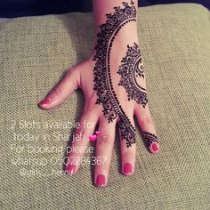 Good Morning ☕ How are you all  Hope doing great ❤ . . 2 Slots available today for #henna booking in Sharjah  . . For booking please whatsup me on 0502284367 ❤