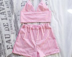 Handmade gingham trouser and bralet two piece / co ord. All