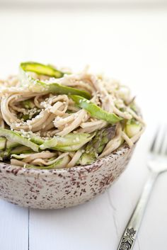 Shaved asparagus and Noodles with Tahini sauce. Love noodles!